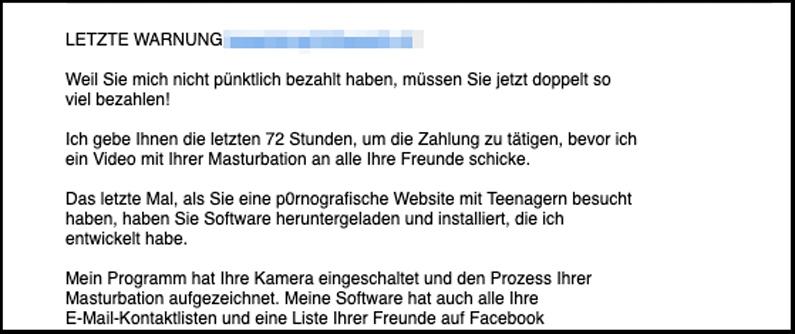 Porno Erpresser Mail Letzte Warnung